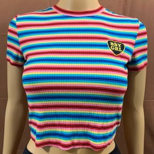 "🥳LIKE NEW🥳 Ribbed Rainbow Stripe ""BBYGRL"" Crop"